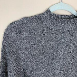 H&M Ribbed Mock Turtleneck Sweater Gray XL